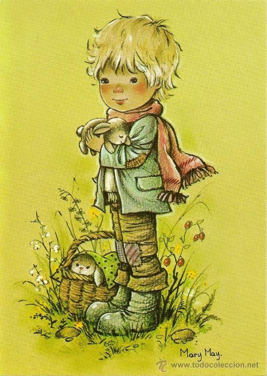 Bonita postal: Niño en el campo. Serie Mary May. nº 521/2. Deposito legal año 1982 (Postales - Dibujos y Caricaturas)