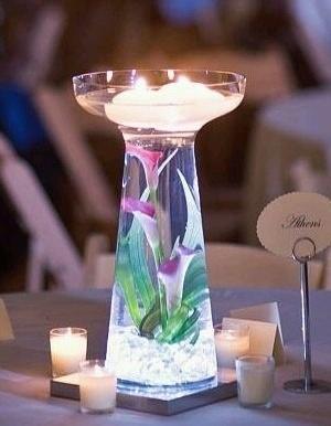 Centros de mesa con cristales #bodas #eventos, #quince años