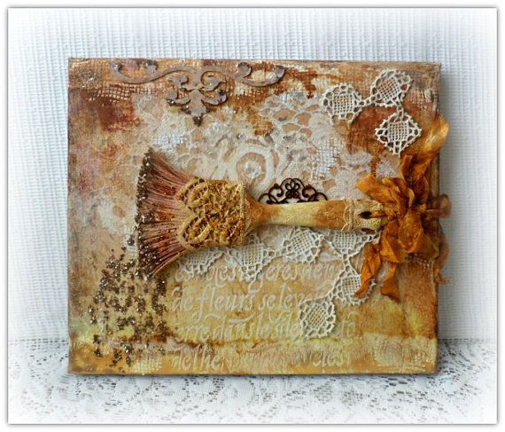 Mixed media canvas picture  mixed media by CarmenHandCrafts
