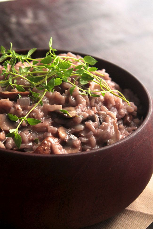 Red Wine, Mushroom, and Thyme Risotto