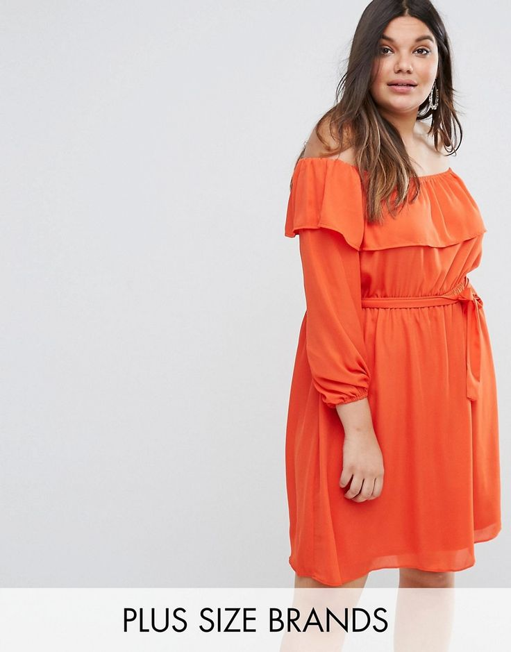 Buy it now. Lovedrobe Off The Shoulder Ruffle Dress - Orange. Plus-size dress by Lovedrobe, Smooth woven fabric, Off-the-shoulder design, Frill trim, Tie waist, Blouson sleeves, Regular fit - true to size, Machine wash, 100% Polyester, Our model wears a U