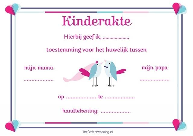 Betrek je kind tijdens de ceremonie met deze kinderakte. Kijk voor meer kinderaktes op ThePerfectWedding.nl