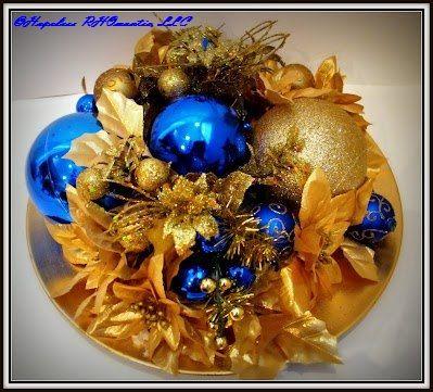 Blue and Gold Centerpiece by Hopeless RHOmantic, LLC  www.hopelessrhomantic.com  #SigmaGammaRho #SGRho #1922 #PrettyPoodle #RHOmeo #blueandgold  #d9 #holiday #holidaydecor #bglo #hbcu #sorority #buyblack #centerpiece #floralarrangements #floral #christmas #merrychristmas #decorations #flowers #eventdecor #decor