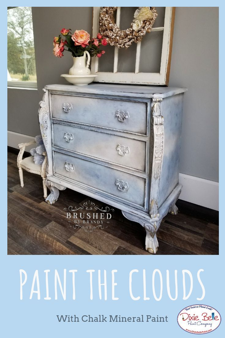 The Bright Sky With Scattered Clouds Was The Inspiration For This Lovely Piece Brushe Blue Painted Furniture Painted Furniture For Sale Painting Furniture Diy