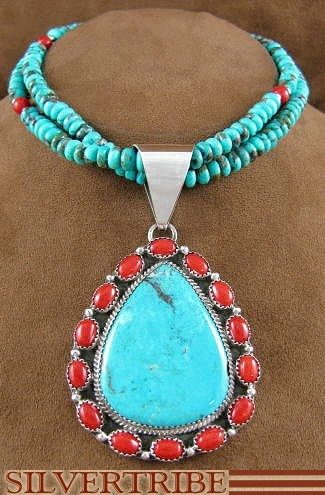 The beautiful features in this necklace will make you appreciate Native American art!  In this Native American jewelry set, the pendant is Navajo hand made out of genuine sterling silver, along with a real Turquoise stone and real Corals.  The pendant has a total of FIFTEEN stones that are delicately set in hand cut bezel, while being accented with twisted silver and silver beads that finish the pendant perfectly.  Pendant is stamped sterling and hallmarked by the artist.