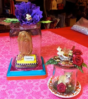 Crafty Chica's Glass Jar Shrines | BlogHer: Jar Shrines, Glasses, Crafty Girl, Craft Ideas, Glass Jars, Day Of The Dead, Crafts