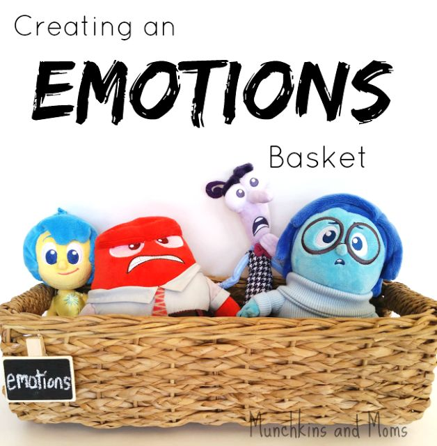 "Creating an Emotions Basket for preschoolers with toys from the Disney movie ""Inside Out"" #PlayNGrow #Ad"