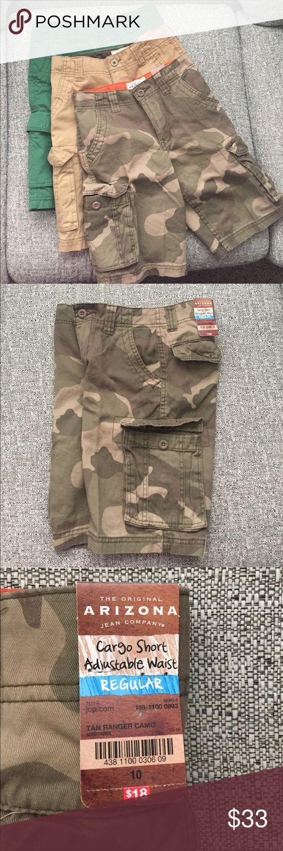 NWT-Bundle Boys Cargo Shorts Brand new! Cargo shorts, adjustable waist, regular fit. Camo, Khaki and Green. Great staples for a young mans wardrobe 🏀⚽️🏈⚾️ Arizona Jean Company Bottoms Shorts