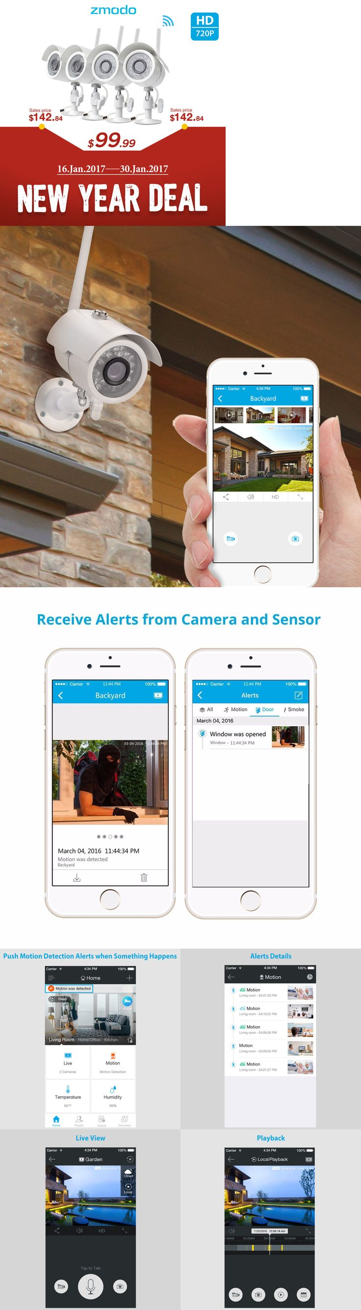 Surveillance Security Systems: Zmodo 720P Hd Outdoor Ip Network Ir Night Vison Wireless Camera Security System BUY IT NOW ONLY: $99.99