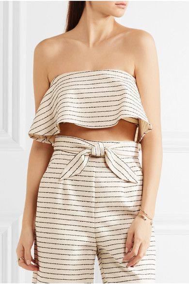 MARA HOFFMAN Striped basketweave cotton-blend bandeau top