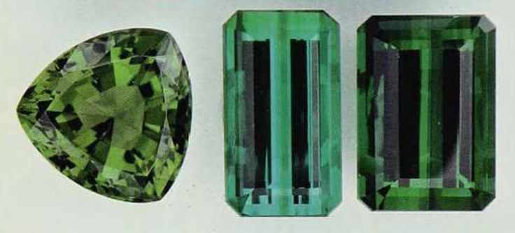 Left, a chrome tourmaline (Africa, 10.05 cts). Right, two green tourmalines or verdelites (Brazil, 9.68 and 14.75 cts). Photo