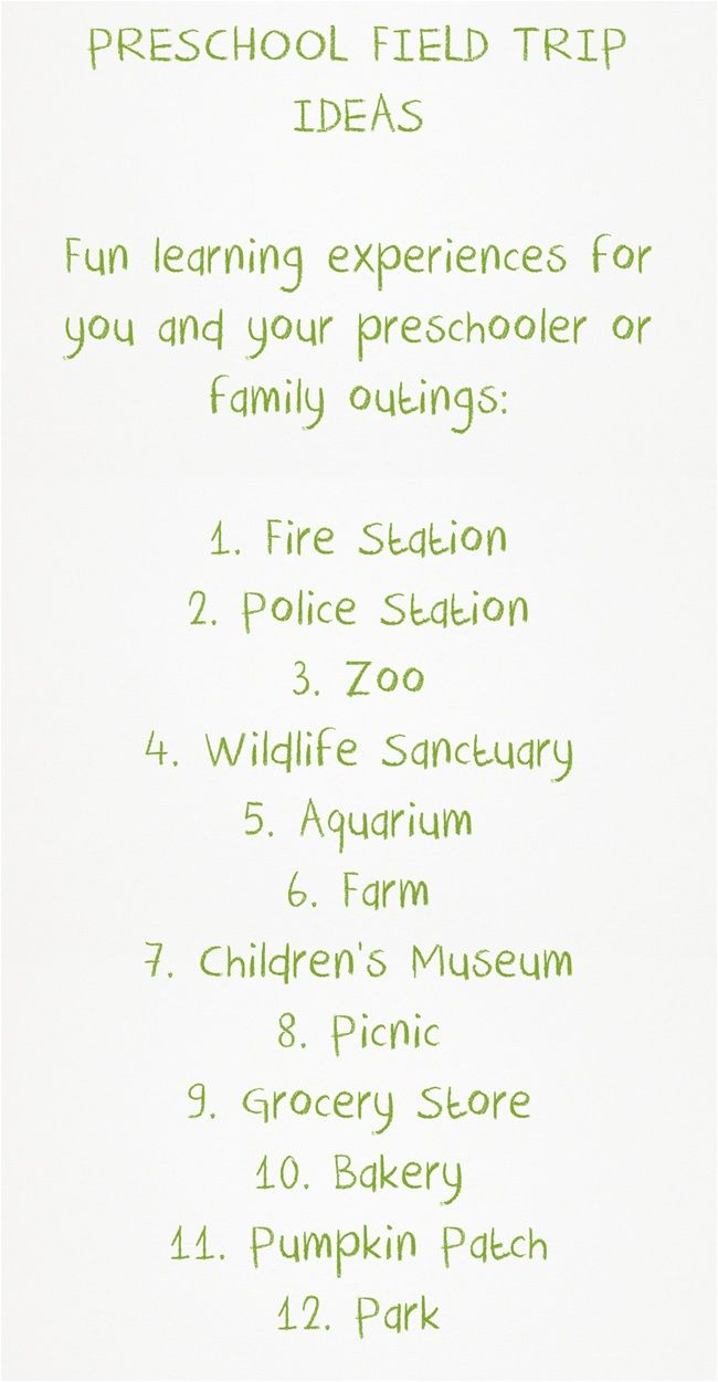 Field trip ideas for the preschool child in your family!
