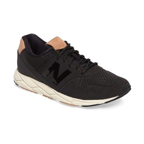 Women's New Balance 96 Mash-Up Sneaker ($110) ❤ liked on Polyvore featuring shoes, sneakers, black, kohl shoes, new balance sneakers, new balance, black sneakers and black trainers