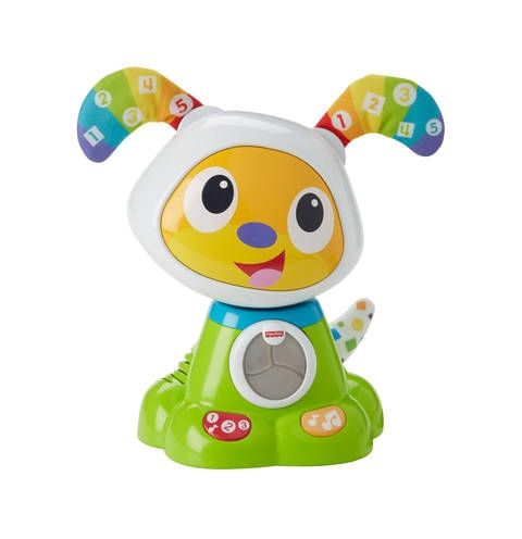 Get the fun started by pressing the buttons on the paws of BeatBowWow™ to activate fun songs, lights and dance moves. Little ones will love watching his head bob side-to-side, his ears wiggle to the beat and his soft tail light up and wag back & forth. For ages 9-36 months.