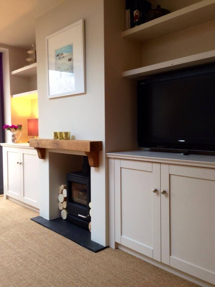 Alcove furniture with fitted cabinets and floating shelves | Cheltenham