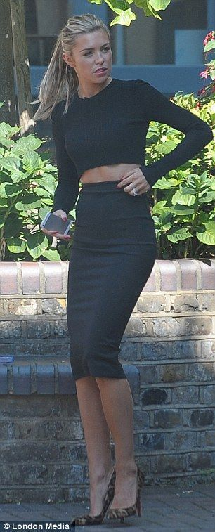 long pencil skirt and crop top with long sleeves. love this look! only a little peek of midriff.