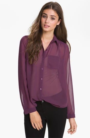 Frenchi® Sheer Chiffon Shirt (Juniors) available at Nordstrom NorthPark Center. This blouse gives you a subtle feminine touch to your look.