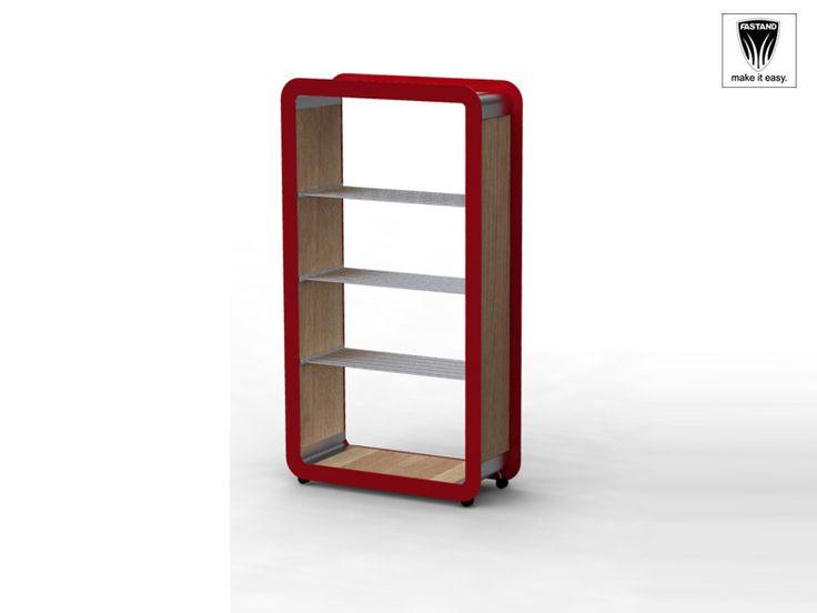 Mensole porta oggetti in alluminio e legno. Rotelline mobili.