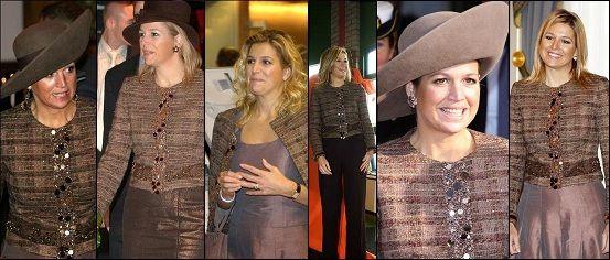 Máxima's favoriete outfits: bruin jasje met pailletten, v.l.n.r.: 2005, 2006, 2007, 2008, 2008, 2011