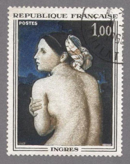 timbres de france/timbre france 1967 - 1530  - La baigneuse, tableau de Dominique Ingres - Serie oeuvres d art.jpg