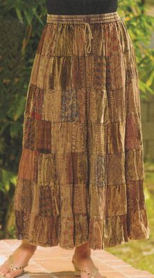 Brown Patch Cotton Broomstick Skirt