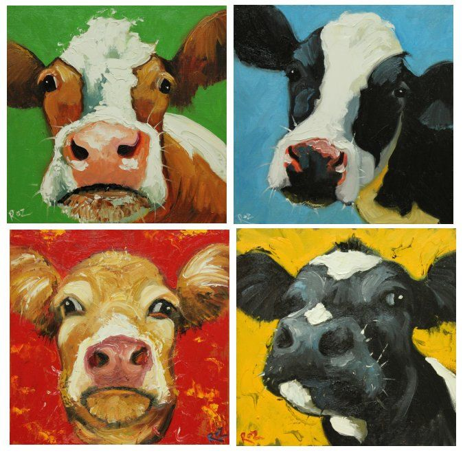 I really really want these for Logan's room but not for $345. Colors are perfect :-/.......  four Cow paintings 12x12 inches each by RozArt, $345.00