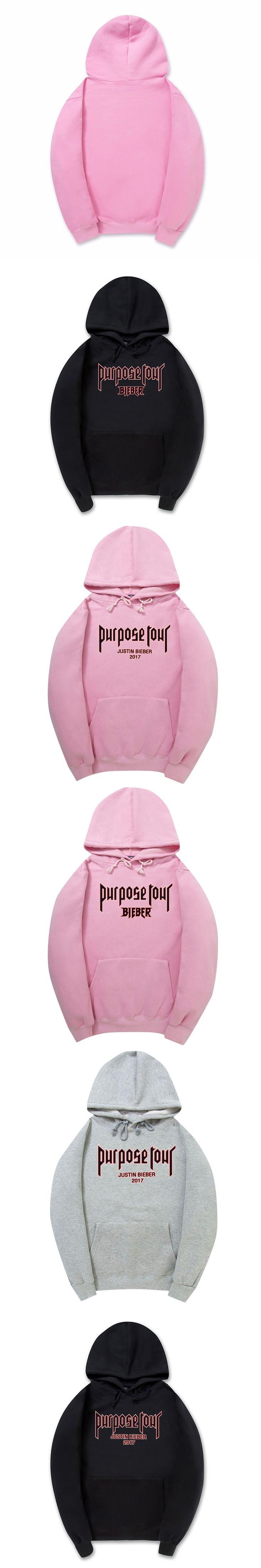 100% cotton Purpose Tour Justin Bieber 2017 hoodies HipHop Streetwear black pink pullover jumper Men/Women Hoodie Sweatshirt 2XL