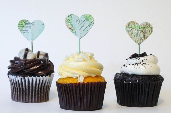 Hey, I found this really awesome Etsy listing at https://www.etsy.com/listing/243836449/map-atlas-cupcake-toppers-heart-vintage