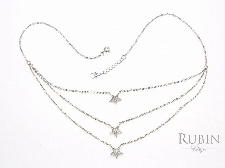Cirkónia köves csillag motívumos ródiumos ezüst nyaklánc