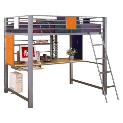 metal loft bed wcomputer desk 9