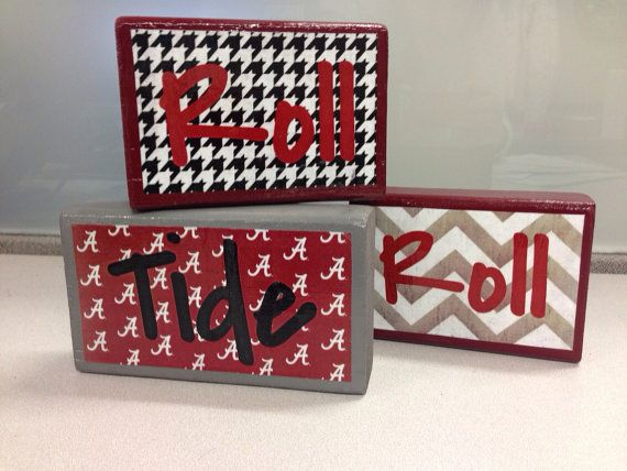 Alabama Roll Tide Roll Decorative Blocks  Set by IsbellCreations, $20.00