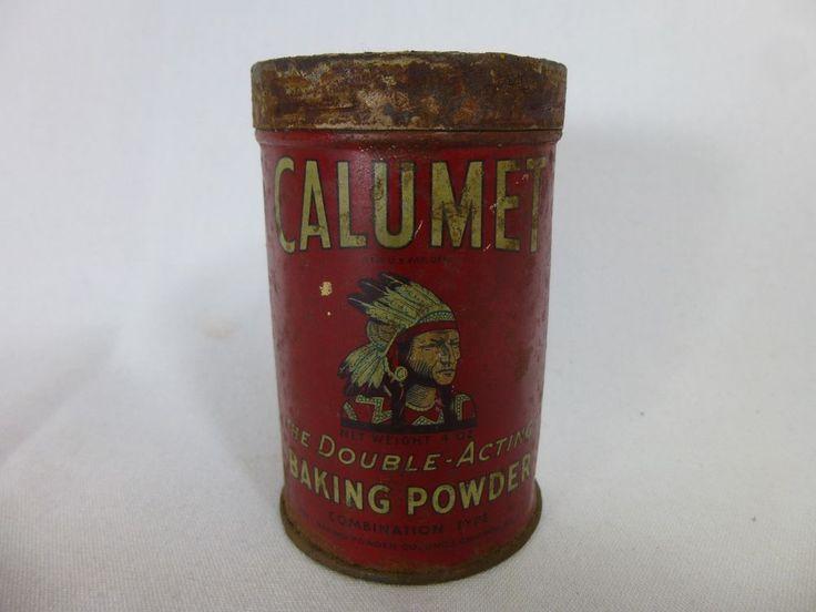 Vintage Calumet 4oz Double Acting Baking Powder Tin Chicago Illinois #Calumet