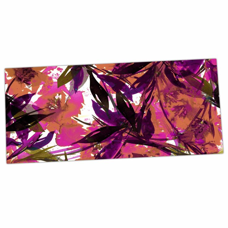 "Ebi Emporium ""Floral Fiesta Pink Plum"" Watercolor Painting Desk Mat"