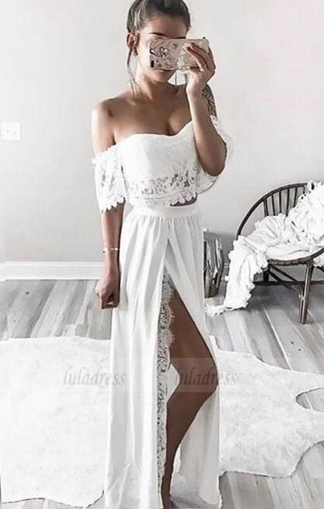 two piece long prom dresses,off the shoulder formal dresses,BD98726 2