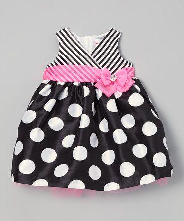 Black & Pink Polka Dot Surplice Dress - Infant #zulily #zulilyfinds