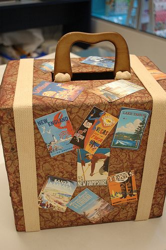 For the travel minded couple...a gift card box that looks like a suitcase! Visit www.stylinbride.com for more ideas.
