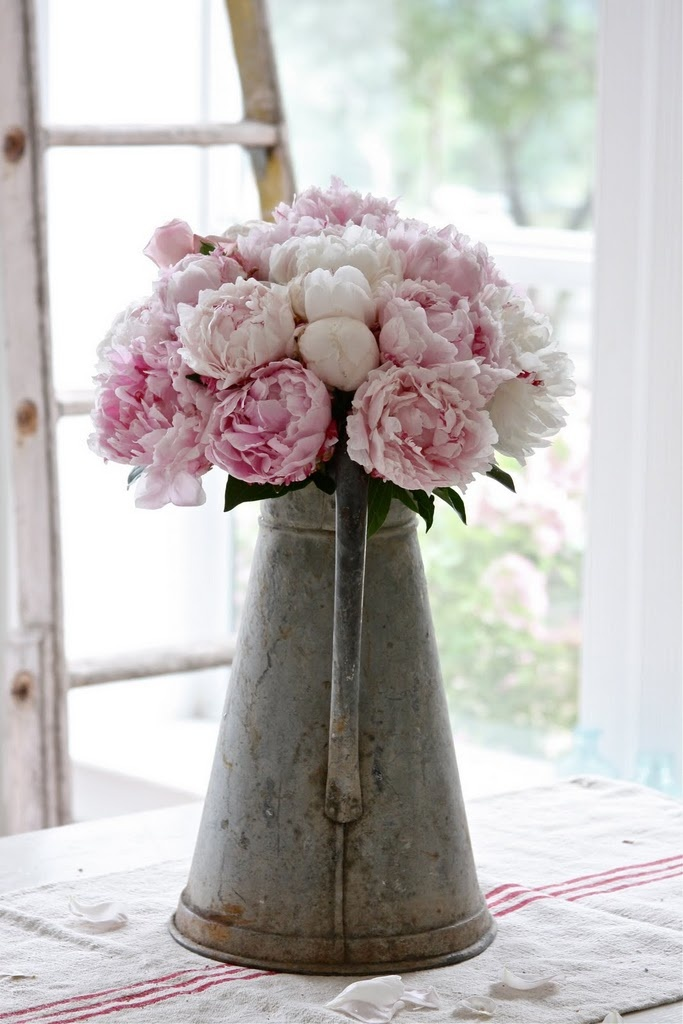 peonies in a old mug