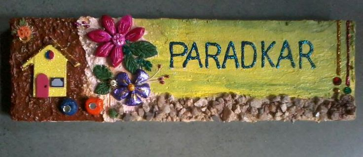 Pin by varada dilip on name board pinterest clay art for Mural name plate