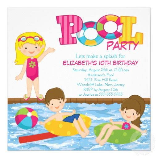 15 best Kids Pool Party Invitations images on Pinterest Pool party - birthday invitation pool party