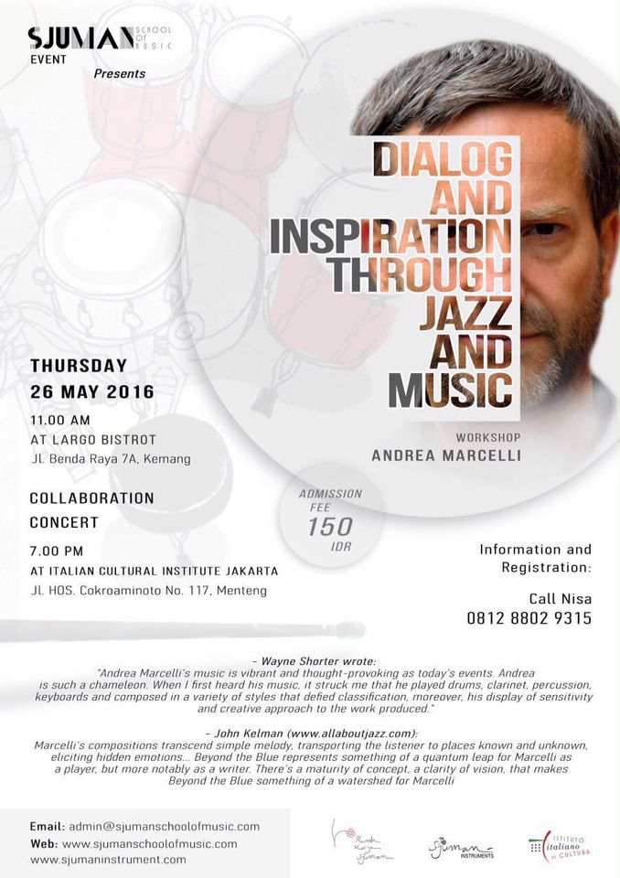 """DIALOG AND INSPIRATION THROUGH JAZZ AND MUSIC"" Workshop with: Andrea Marcelli  #MyDesign #dindrART #DesignGraphic #DesignerGraphic #DesainGrafis #Typography #Music #RumahKaryaSjuman #Workshop #Jazz #AndreaMarcelli #SjumanSchoolOfMusic"
