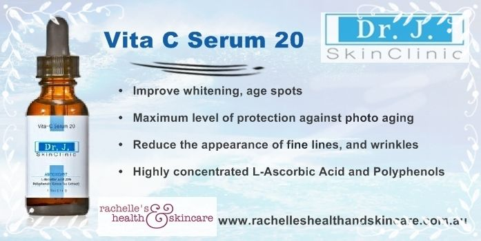 Dr J SkinClinic Vita C Serum 20 ●  Improve whitening, age spots ●  Maximum level of protection against photo aging ●  Reduce the appearance of fine lines, and wrinkles For more click the link. http://www.rachelleshealthandskincaredistribution.com.au/store/drj_skinclinic/html/vita-c-serum20.html
