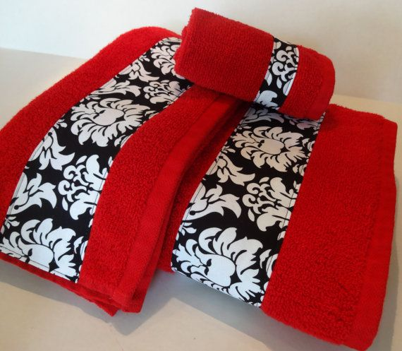 red and black damask bath towels  bathroom towels  bath towel  hand towel  red towel  black