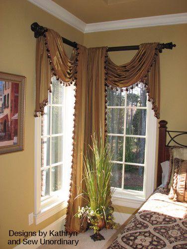 miter cut angled drapery rod for corner window if you need drapery hardware like this corner window