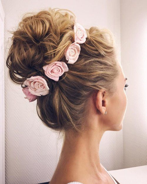 hair, rose, and bun image
