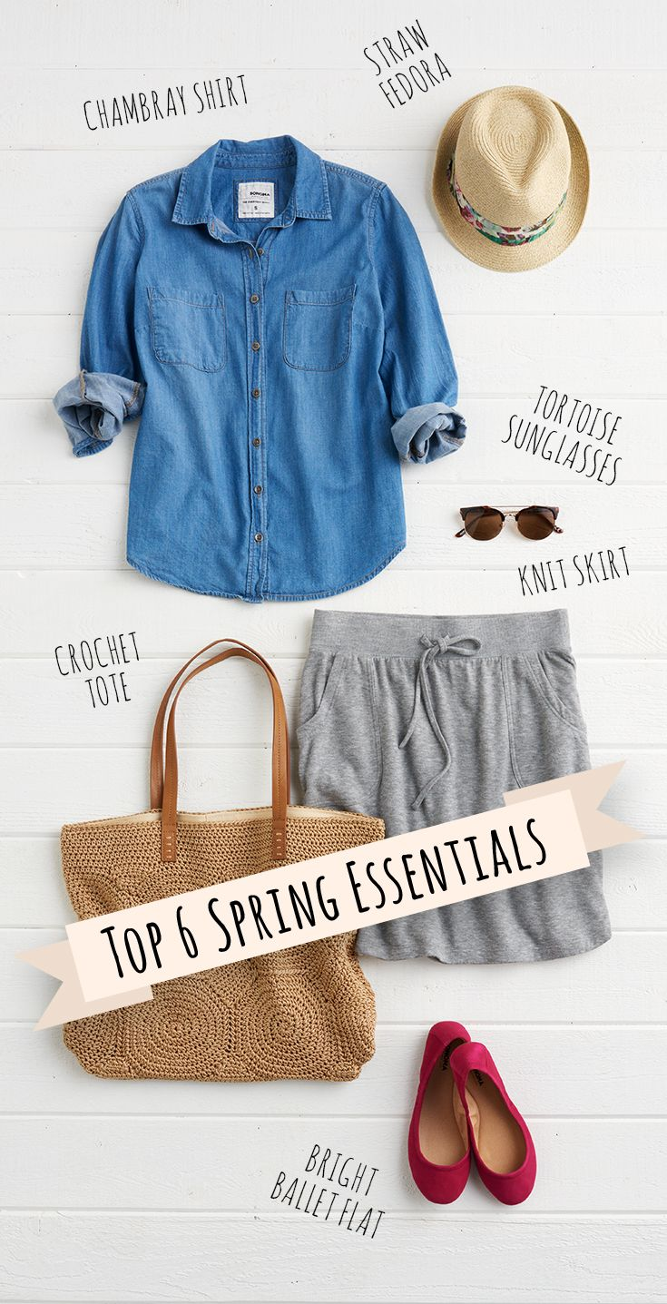 Because of its versatility, the chambray shirt is an essential part of every woman's wardrobe. This no-fuss button-down can be dressed up or down. Trying pairing it with a simple jersey skirt and red flats for a casual afternoon. Find this look and more from SONOMA Goods for Life, only at Kohl's.