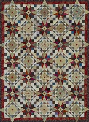 """The circular design that emerges on this scrappy quilt is created by the pairing of two blocks: 54-40 or Fight and Corn and Beans. It looks complex, but each unit only requires triangles and squares.    Finished quilt size: 68"""" x 92"""""""