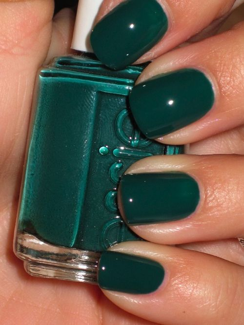 essie: stylenomics. Have this color and it doesn't look green at all! Always comes out looking more black...I wish it looked like this picture.