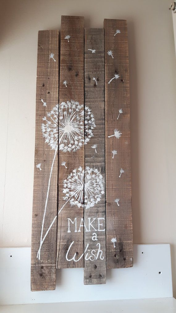 Dandelion – Pallet Art – Rustic Wood – Pallet Canvas – Acrylic Pallet Art – Reclaimed Pallet Art – Art on Wood – Dandelion Painting