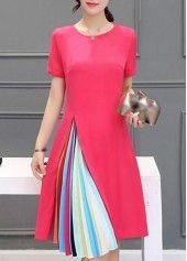 Zipper Closure Short Sleeve Rose Dress on sale only US$22.42 now, buy cheap Zipper Closure Short Sleeve Rose Dress at lulugal.com