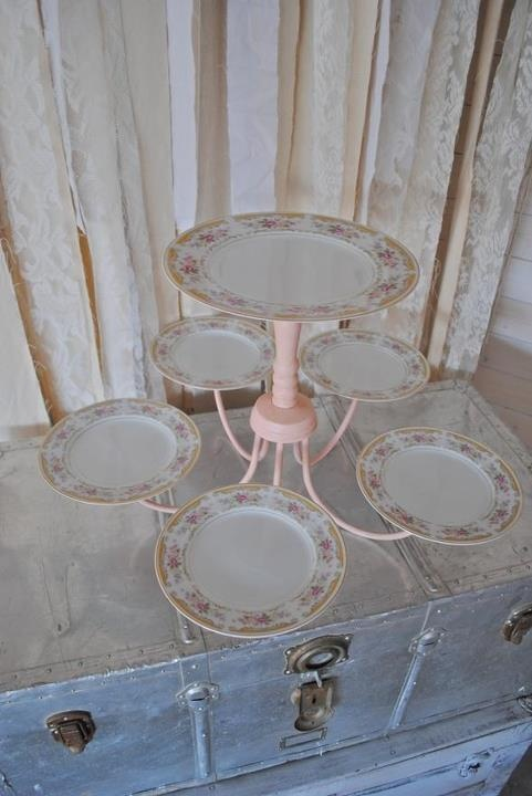 Definitely do this for our cake stand, but make it more industrial with a gold/bronze chandelier